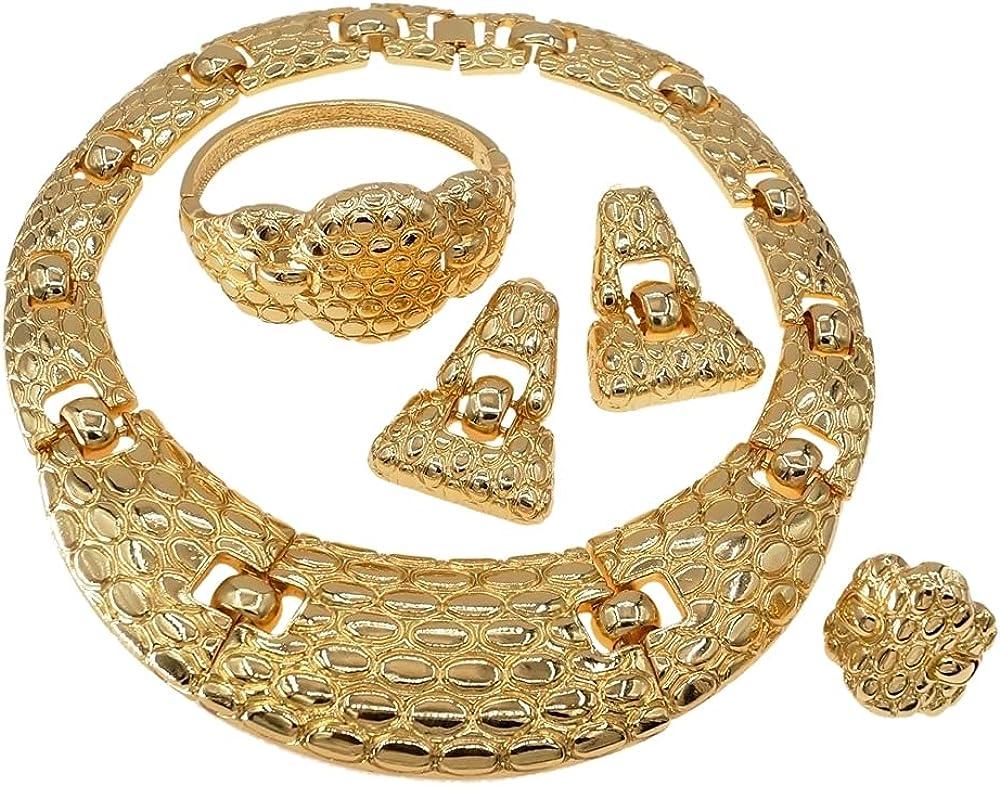 Yulaili Brazilian Italian Gold 4-piece Jewelry Set Fashion Heavy For Ladies Nowadays Popular Styles Jewelry Set