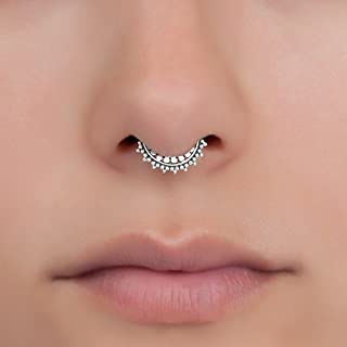 Tiny Fake Septum Nose Ring, Sterling Silver Tribal Faux Clip On Non Pierced Septum Cuff, 18g, Handmade Designer Piercing Jewelry