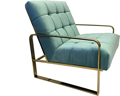 JWLC Imports 11080-TE Manhattan Lounge Chair Teal Velvet Seat with Gold Stainless Steel
