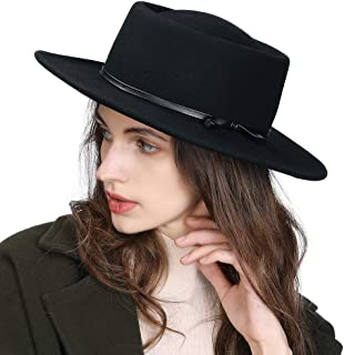 Jeff & Aimy Womens 100% Wool Felt Fedora Hat Wide Brim Pork Pie Derby Party Hat