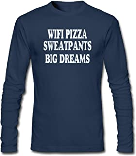 shshiqq Men's WiFi Pizza Sweatpants Big Dreams Long Sleeve T-Shirt