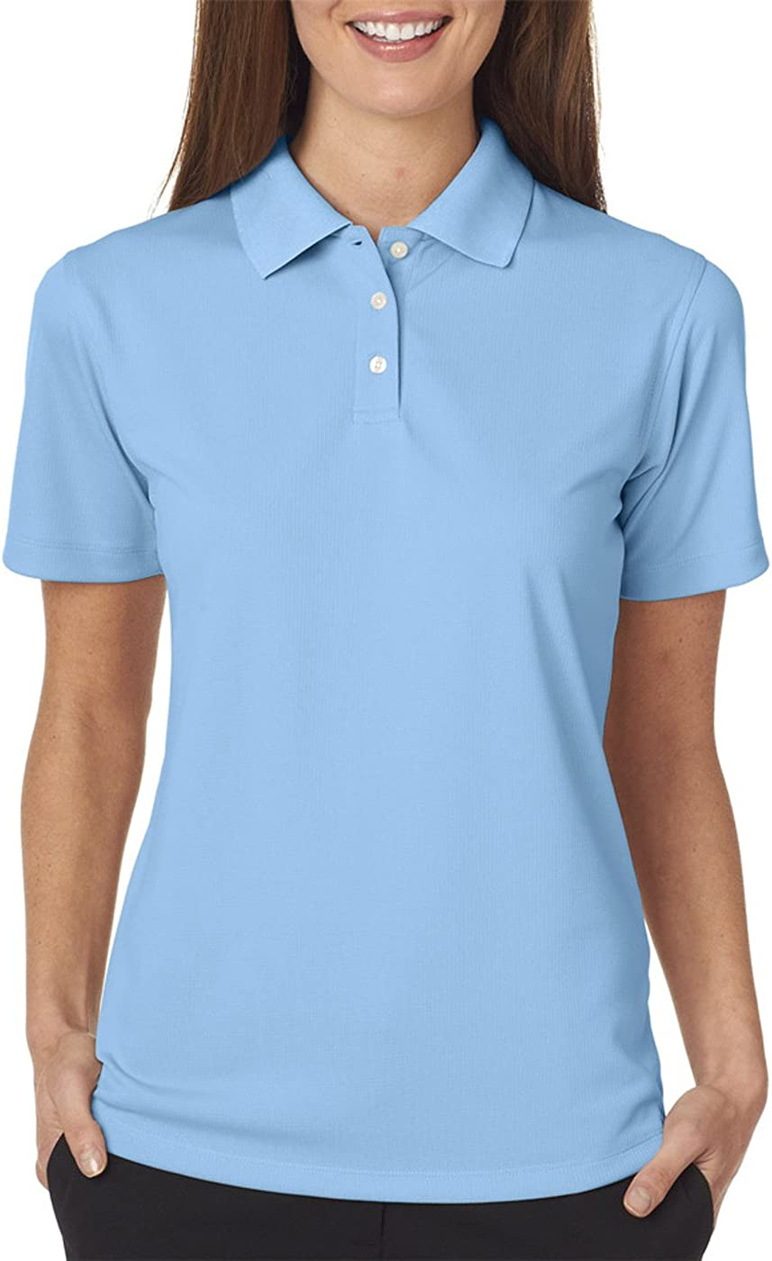 UltraClub Women's Cool & Dry Stain-Release Polo Shirt, COLUMBIA BLUE, X-Small