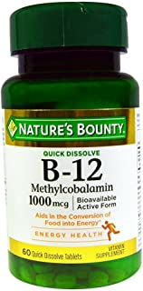 Nature's Bounty B-12 1000 mcg Microlozenges 60 ea (Pack of 2)