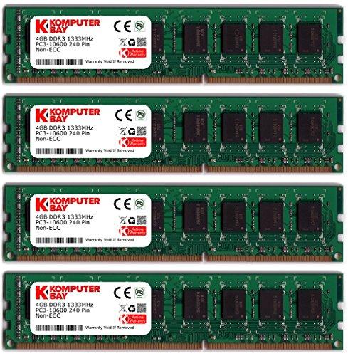 Komputerbay 16GB (4x4GB) DDR3 DIMM (240 pin) 1333Mhz PC3 10600 / PC3 10666 (9-9-9-25) 16 GB KIT