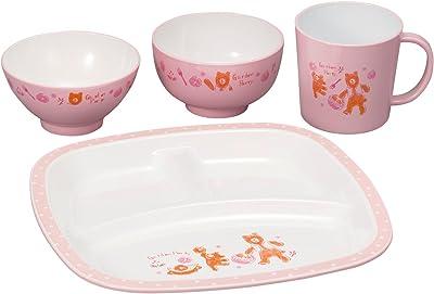 カノー 子ども用食器セット ピンク 23.5×23.5×2cm 森の詩 キッズセット S3 4点入