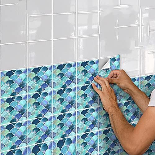 azulejos adhesivos cocina,10 piezas de pegatinas de mosaico de escamas de pescado, pegatinas de pared impermeables para comedor, sala de estar y baño -15cm