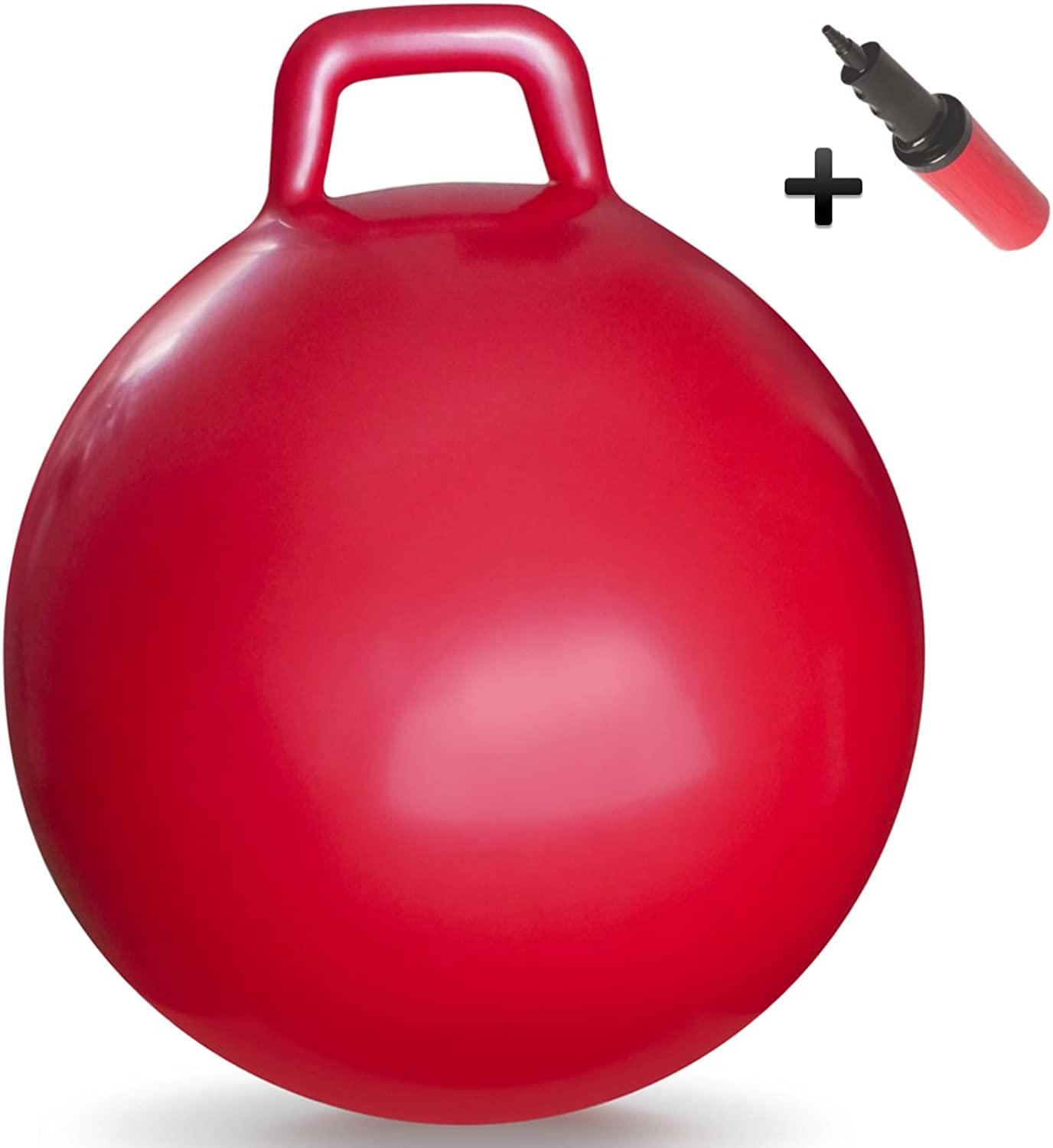 WALIKI Toys Hopper Ball for Kids Ages 36 (Hippity Hop Ball, Hopping Ball, Bouncy Ball with Handles, Sit & Bounce, Kangaroo Bouncer, Jumping Ball, 18 Inches, Red, Pump Included)