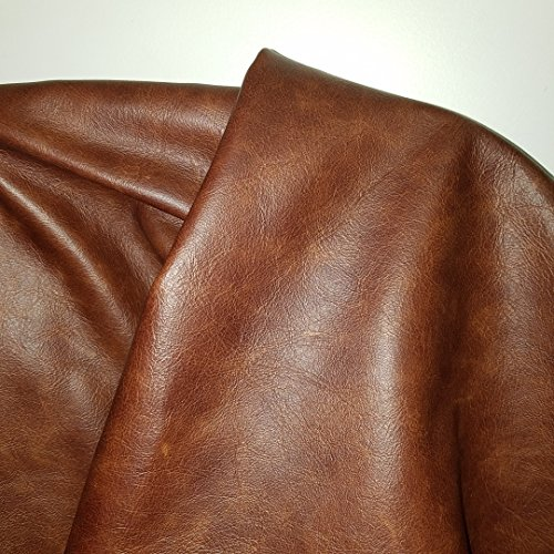 NAT Leathers Brown Cognac Weekender Two Tone Soft Upholstery Chap Cowhide Italian Genuine Leather Hide Skin 20 inch x 30 inch Cut Piece (20