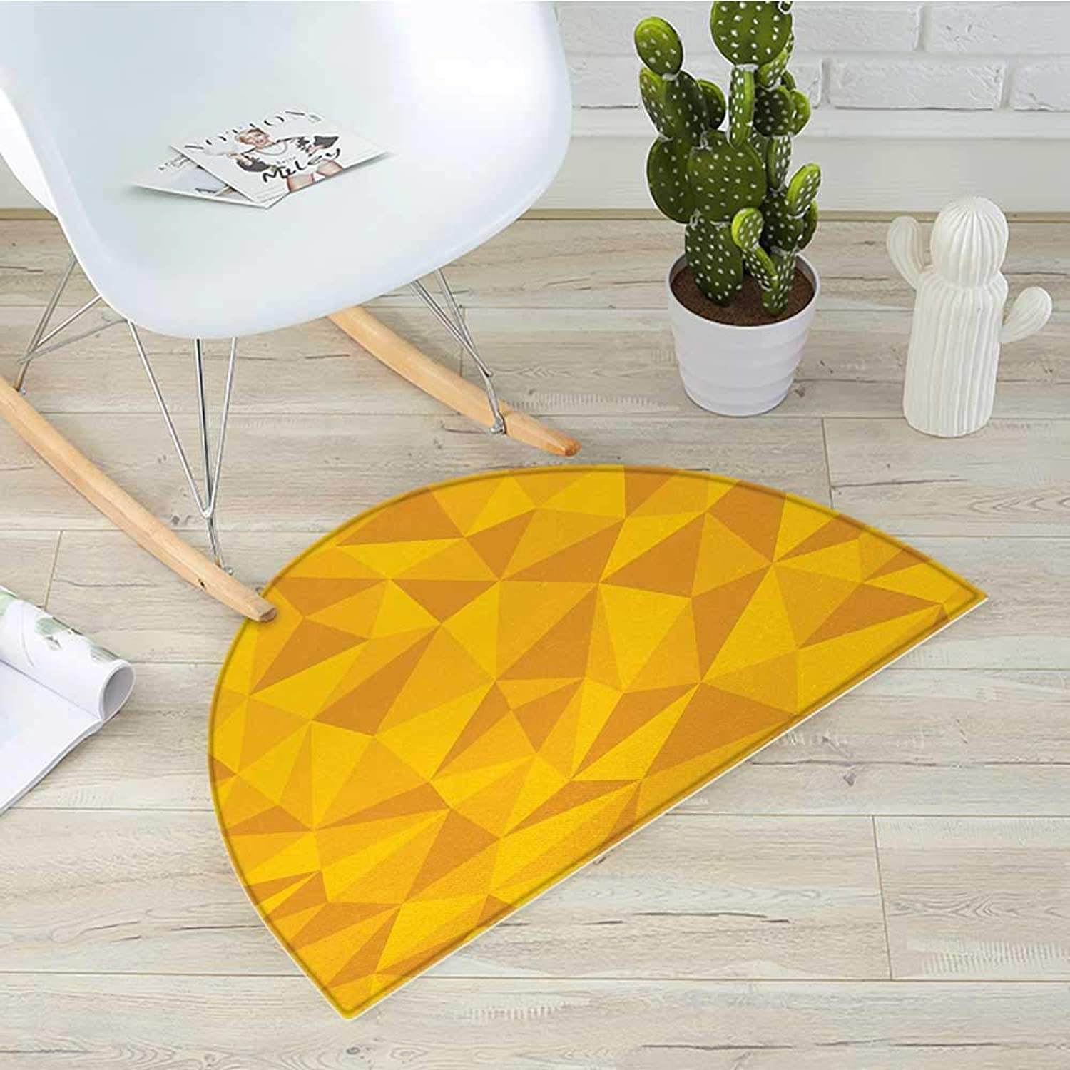 Yellow Half Round Door mats Abstract Triangular Cubic Unusual Shaded Shapes Patterns Stylized Mosaic Design Bathroom Mat H 35.4  xD 53.1  Yellow orange