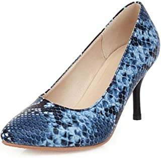 Printing High Heels For Banquet Wedding Dress Daily (Color : Blue, Size : 35)