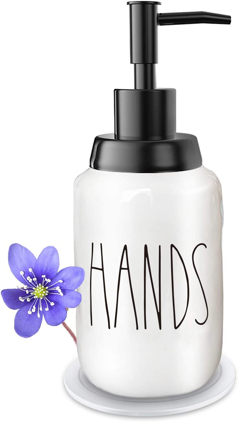 Soap Dispenser–Modern Farmhouse Style Ceramic Dishes Liquid Soap Dispenser–Perfect for Kitchen Counter Décor or Kitchen Sink-Bathroom Soap Dispenser–White Bottles with Black Pump and Lettering(Hands)