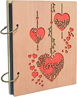 4x6 Love Photo Album Heart Wooden Picture Albums Book with 120 Pockets Wedding Anniversary Valentines Gifts