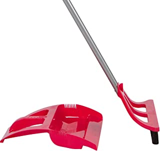 WISPsystem Best 90 Degree Angle One-Handed Broom with Dustpan and Telescoping Handle w/Bristle Seal Technology (Red)