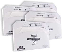 Gmark Paper Toilet Seat Covers - Disposable Virgin Paper Half-Fold Toilet Seat Cover Dispensers - 4 Packs of 250 GM2002