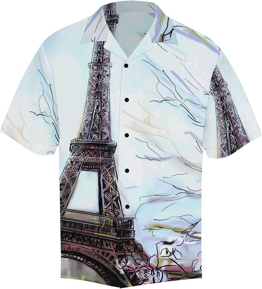 InterestPrint Men's Casual Button Down Short Sleeve Florals Eiffel Tower Hawaiian Shirt (S-5XL)