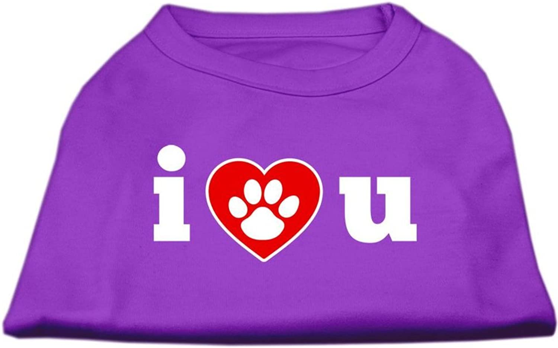 Dog / Cat / Pet Charms I   U Screen Print Shirt Purple Lg (14)