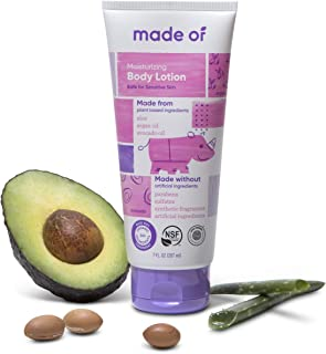 MADE OF Organic Baby Lotion Moisturizing - EWG Rated 1 - Baby Eczema Cream - Dermatologist and Pediatrician Approved - for Sensitive Skin - Made in USA - 7oz (Fragrance Free, 1-Pack)