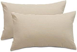 COMHO Pack of 2, Cotton Woven Striped Lumbar Throw Pillow Covers Set, Fall Decorative Cushion Covers, Farmhouse Pillowcases, for Sofa Bedroom Car Chair 12x20 Inch/30x50 cm (Khaki)
