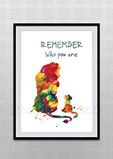 Simba and Mufasa Watercolor Art Print - The Lion King Inspired Watercolor Art Print Wall Art - Lion King Remember Who You Are Quote Kids Room Decor