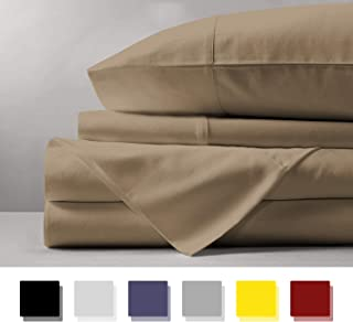 Mayfair Linen 100% Egyptian Cotton Sheets, Taupe Queen Sheets Set, 600 Thread Count Long Staple Cotton, Sateen Weave for Soft and Silky Feel, Fits Mattress Upto 18'' DEEP Pocket