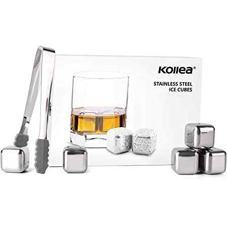 Kollea Stainless Steel Chilling Cubes Reusable Ice Cube Whiskey Stones for Drinks with Ice Tongs and Freezer Storage Tray for Whiskey (8 Pack)