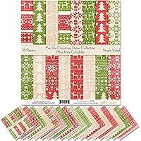 Miss Kate Cuttables パターン ペーパーパック フェアアイルクリスマス スクラップブック プレミアム スペシャルティペーパー 片面 12インチ x 12インチ コレクション 16枚入り
