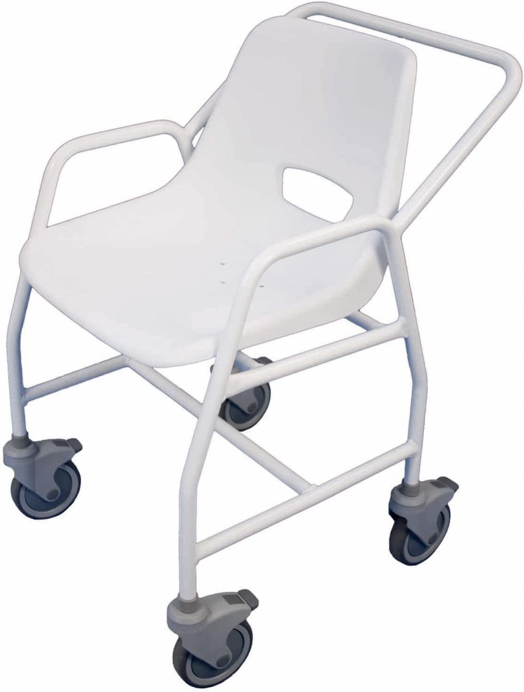 Aidapt Hythe - Silla móvil para ducha (con 4 ruedas), color blanco