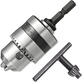 Bestgle 0.6-6mm Capacity 3/8-24UNF Mount Drill Chuck Converter Impact Driver Conversion 1/4-Inch Hex Shank Quick Change Co...