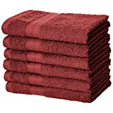 Amazon Basics Fade-Resistant Cotton Hand Towel - Pack of 6, Crimson Red