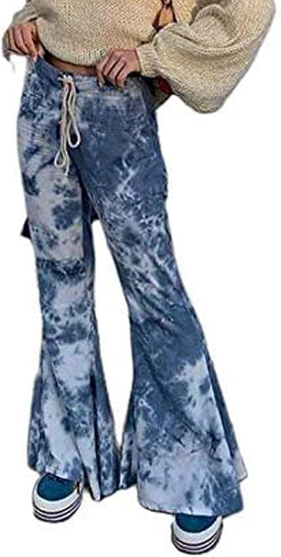 Women Tie Dye Bell Bottom Flare Pants Elastic Drawstring High Waist Wide Hem Streetwear Casual Trousers