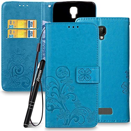 Slynmax Leaf Lederhülle für ZTE Blade L5 / L5 plus Wallet Flip Hülle Tasche Lanyard Strap Leder Tasche Klapphülle Karten Slot Ständer Magnetverschluss Handyhülle(Blau)