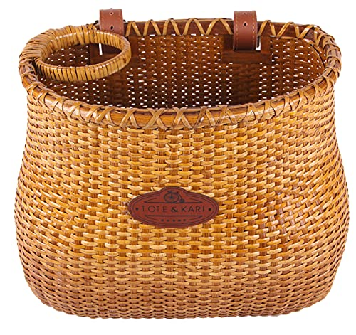 Tote & Kari Bike Basket for Women's Beach Cruiser or Scooter The Original Wicker Bicycle Baskets with Built in Cup Holder for Front Handlebar-Classic Vintage Style Handmade Natural Rattan Wicker