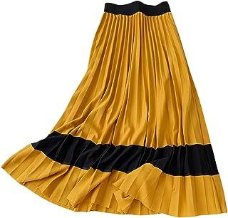 Runyue Pleated Elegant Midi Skirt for Women Ladies Elastic Waist Long Skirt for Winter Autumn