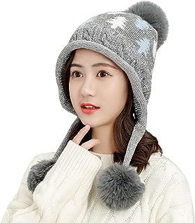 2020 Knit Winter Womens Beanie - Stylish Slouchy Leaf Cap with Pom Pom Ball Knit Warm Hats Cap