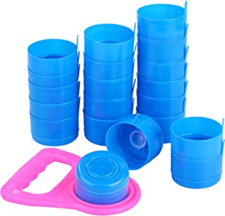 Hestya 20 Pieces Non Spill Caps, Reusable 55 mm 3 and 5 Gallon Water Jugs Anti-Splash Bottle Caps with 1 Piece Water Bottle Handle