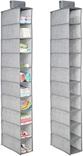 mDesign Soft Fabric Over Closet Rod Hanging Storage Organizer with 10 Shelves for Child/Kids Room or Nursery, Holds Wipes, Diapers, Blankets, Shoes - Textured Print, 2 Pack - Gray
