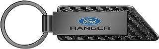 iPick Image for - Ford Ranger Gunmetal Gray Metal Plate Carbon Fiber Texture Black Leather Key Chain