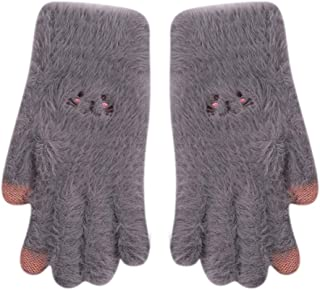 RARITY-US Women Touchscreen Plush Gloves Winter Soft Knitted Warm Gloves for Phone Laptop