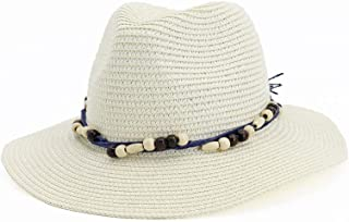 Hats and Caps Summer Sun Hat fpr Women Casual Vacation Panama Straw Hat Wide Brim Beach Jazz Hats Foldable Chapeau (Color : Cream, Size : 56-58CM)