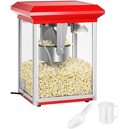 Royal Catering RCPR-1325 Macchina per Popcorn Professionale Popcorn Maker (1325 W, ca. 3 kg/h, Rivestimento in Teflon, 37,5 x 45,6 x 59 cm) Rossa