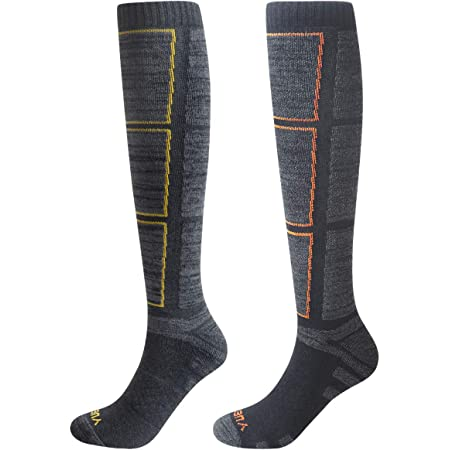 YUEDGE 2 Pairs Men's Wicking Warm Thermal Thick Cotton Knee High Long Athletic Sports Socks 6-11