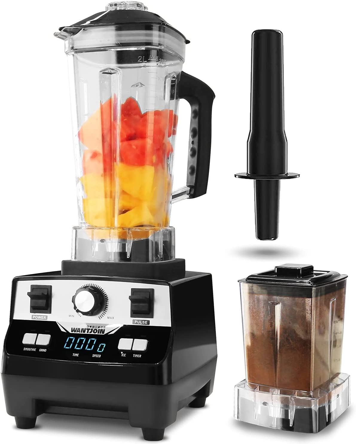 WantJoin Professional Blender, Countertop Blender ,Blender for kitchen 1400W High Power Home and Commercial Blender with Digital Timer, Smoothie Maker (double cup)