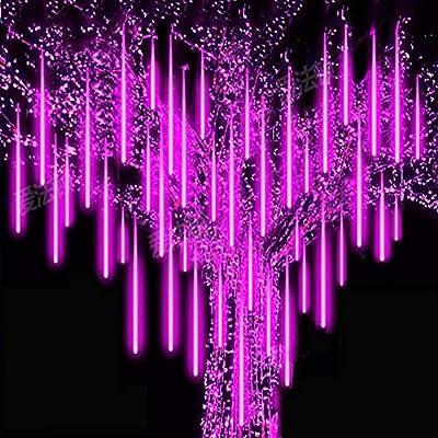 Roytong Waterproof Cascading 30cm 8tube LED Meteor Shower Rain Lights for Outdoor String Lights Purple Christmas Ornaments Wedding Decoration Garden Light (Purple, 11.80)