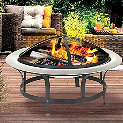 Vivo Acapulco Fire Pit Bowl for Garden BBQ Patio Heater Stainless Steel Firepit from 1 year