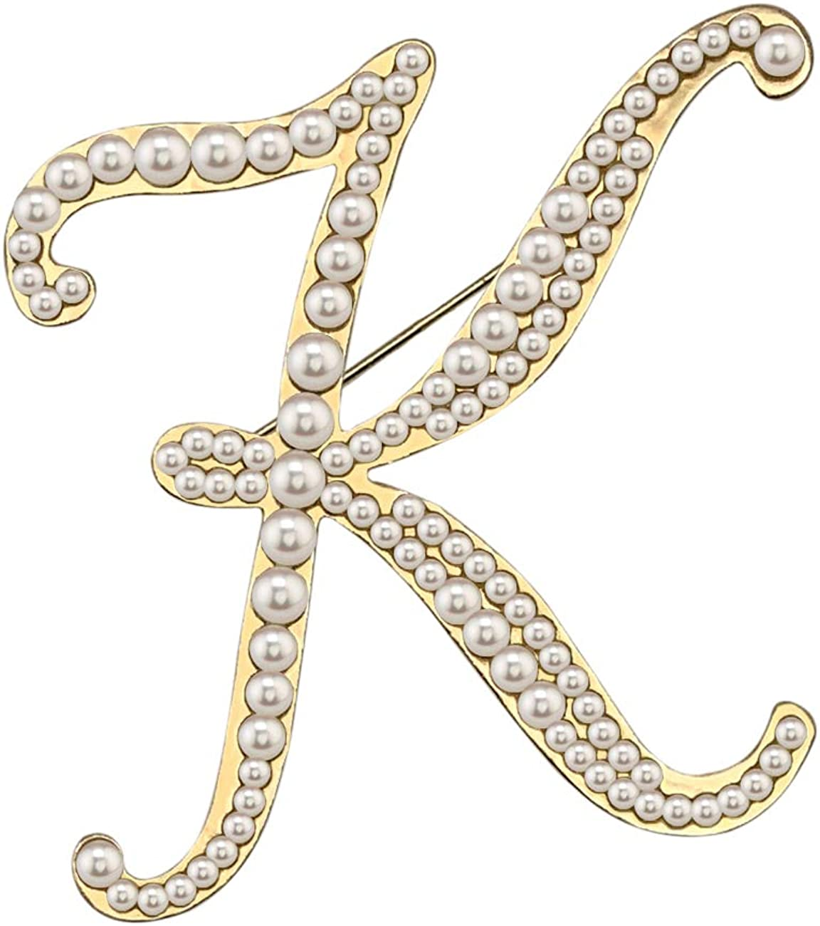 XGALBLA Alphabet Letters(A-Z) Plated Metal Simulated Pearl Lapel Pin Brooches Collar for Women Girls(Gold Tone)