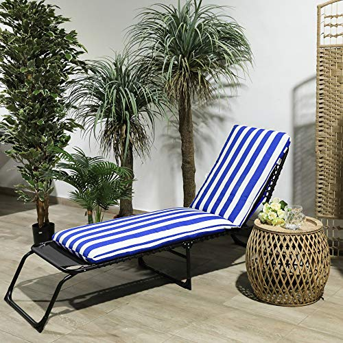 TIENDA EURASIA Cojín para Tumbona de Jardín - 10 Colores - Cojín Acolchado Relleno de Fibra - Medidas 180 x 50 x10 cm (Rayas Azul)