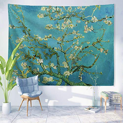 PROCIDA Van Gogh Tapestry Wall Hanging Almond Blossom Oil Painting Nature Plant Floral Wall
