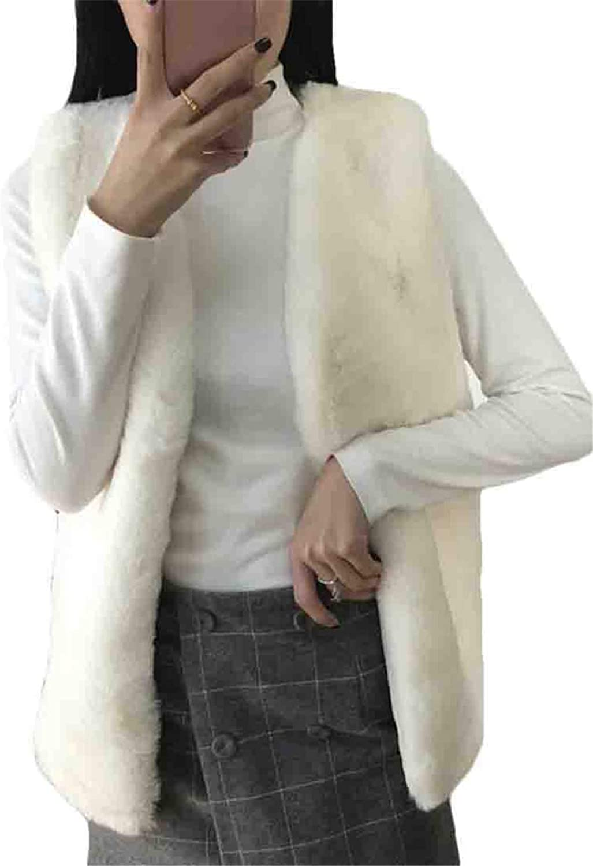 BU2H Women Sherpa Warm Winter Faux Fur Sleeveless Fuzzy Vest Waistcoat