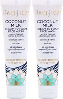 Pacifica Coconut Milk Cream To Foam Face Wash (Pack Of 2), Cream To Foam Face Wash, Remove Makeup, Cleanse & De-Stress, Sulfate Free, With Vitamin E, 1.4 Fl Oz