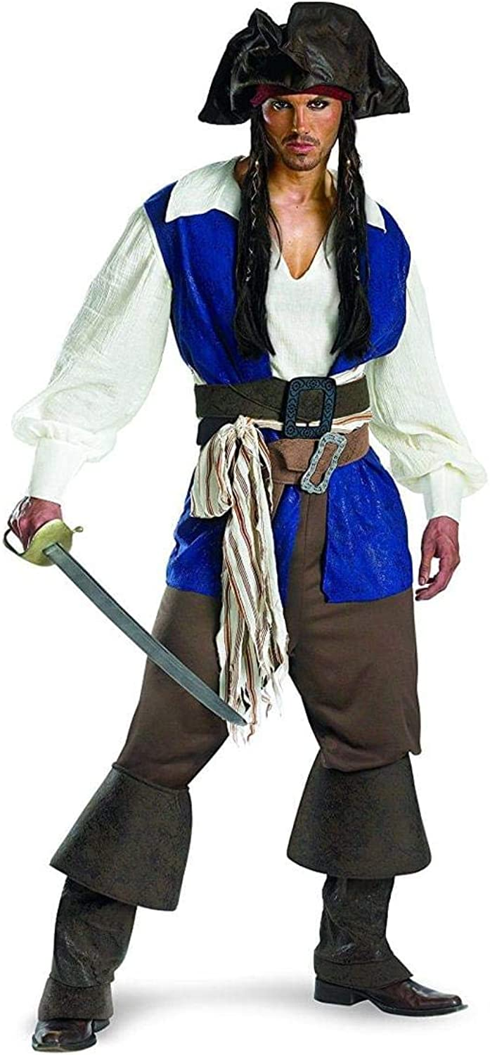 Pirates of the Caribbean Captain Jack Sparrow Deluxe Adult Halloween Costume, 42-46